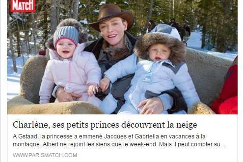 """Bei Facebook zeigt """"Paris Match"""" eines der Bilder aus der Fotostrecke mit Fürstin Charlène und ihren Kindern"""