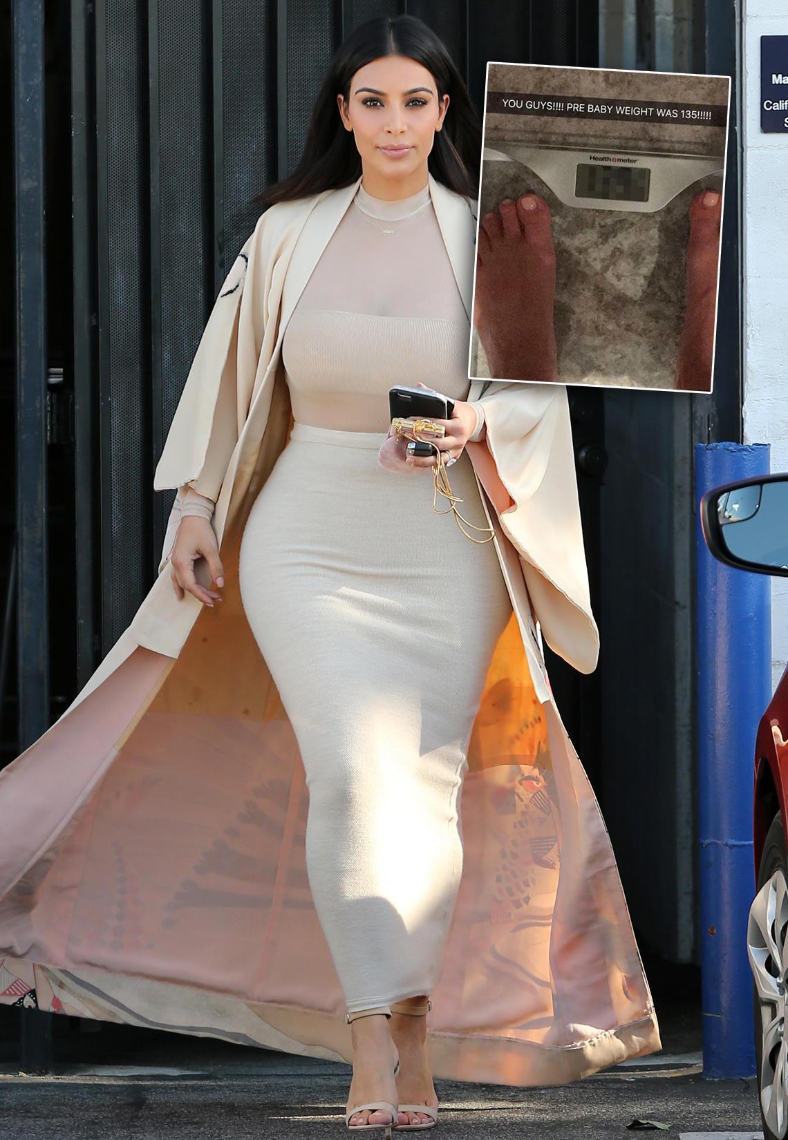 Kim Kardashian: Sie zeigt ihr Gewicht auf der Waage