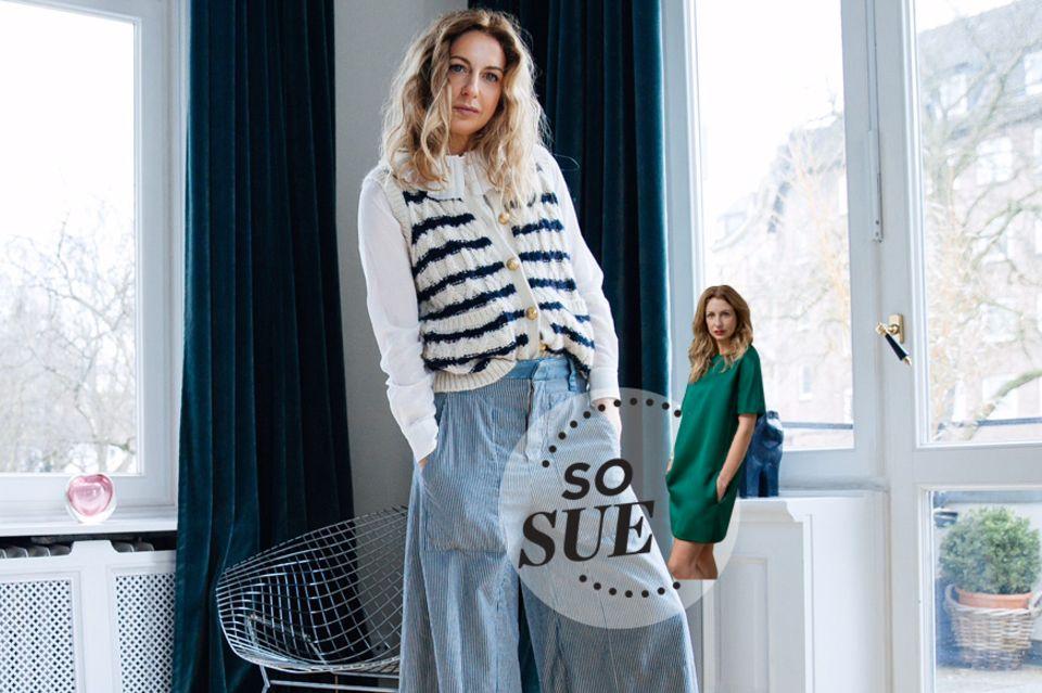 """Der """"Stripy Stripes""""-Look mit leichter Denimhose, Bluse und Pulli vom Flohmarkt."""