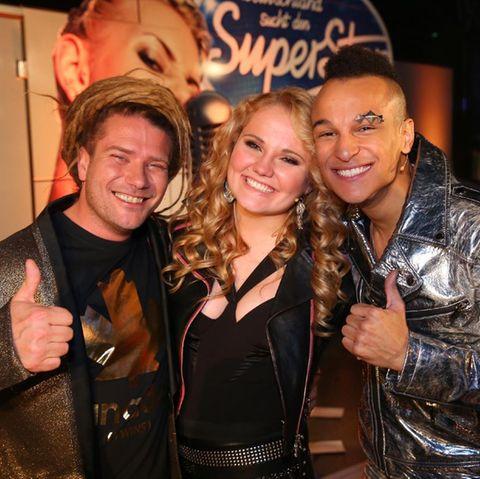 Die drei verbliebenen Kandidaten der DSDS-Staffel 2016: Thomas Katrozan, Laura van den Elzen und Prince Damien