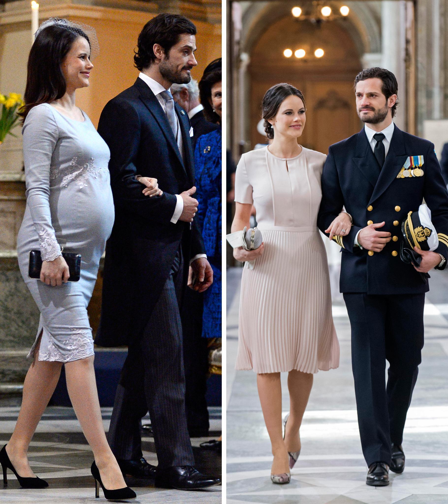 Am 3. März zeigt sich Prinzessin Sofia (links; an der Seite ihres Mannes Carl Philip) mit großer Babykugel. Am 30. April - und damit elf Tag nach der Geburt von Baby Alexander - präsentiert sie sich schon fast wieder mit ihrer alten Figur.
