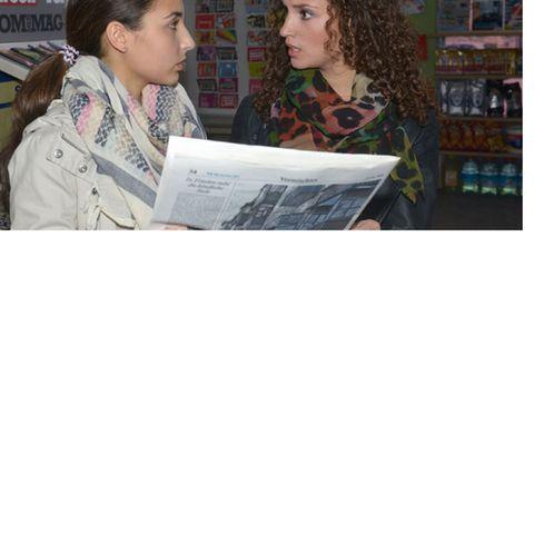 Ayla (Nadine Menz) und Selma (Rona Özkan) im Kiosk mit einer für GZSZ entworfenen Tageszeitung
