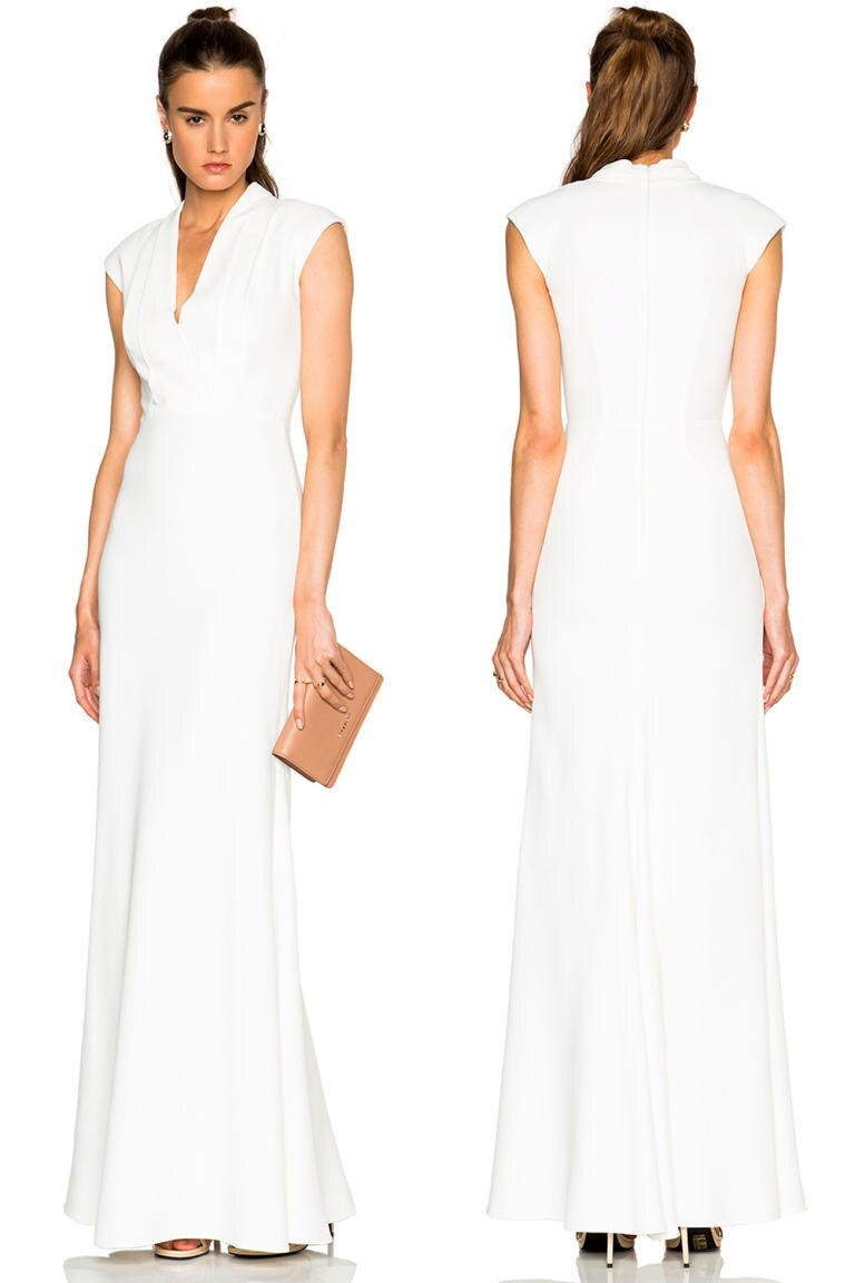 Keine Knopfleiste, ein anderer Ausschnitt, aber eindeutig angelehnt an Pippa Middletons Brautjungfernkleid ist der neue Entwurf von Alexander McQueen.