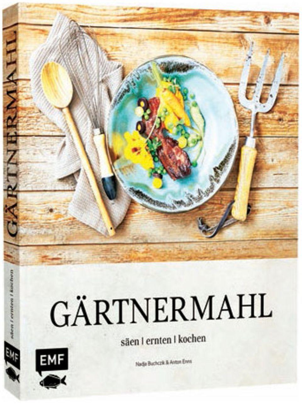 """Säen, ernten, kochen ist die Devise der Food-Autoren Nadja Buchczik und Anton Enns. Was Selbstversorgern im besten Falle blüht, sind Delikatessen wie Basilikum-Malfatti oder Rhabarber-Chutney. (""""Gärtnermahl"""", Edition Michael Fischer, 176 S., 24,99 Euro)"""
