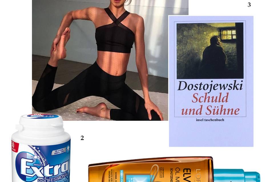 """Irinas Lieblinge: 1. Pilates-Training; 2. Reisebegleiter """"Wrigley's-Kaugummi sind meine Geheimwaffe, um mich auf langen Reisen gut und frisch zu fühlen""""; 3. Haarbooster Irina liebt das Haaröl von Elvital, es hält ihre Mähne so schön geschmeidig; 4. Lesestoff Das Model liebt die Werke von Fjodor Dostojewski. """"Schuld und Sühne"""" hat sie schon dreimal gelesen"""