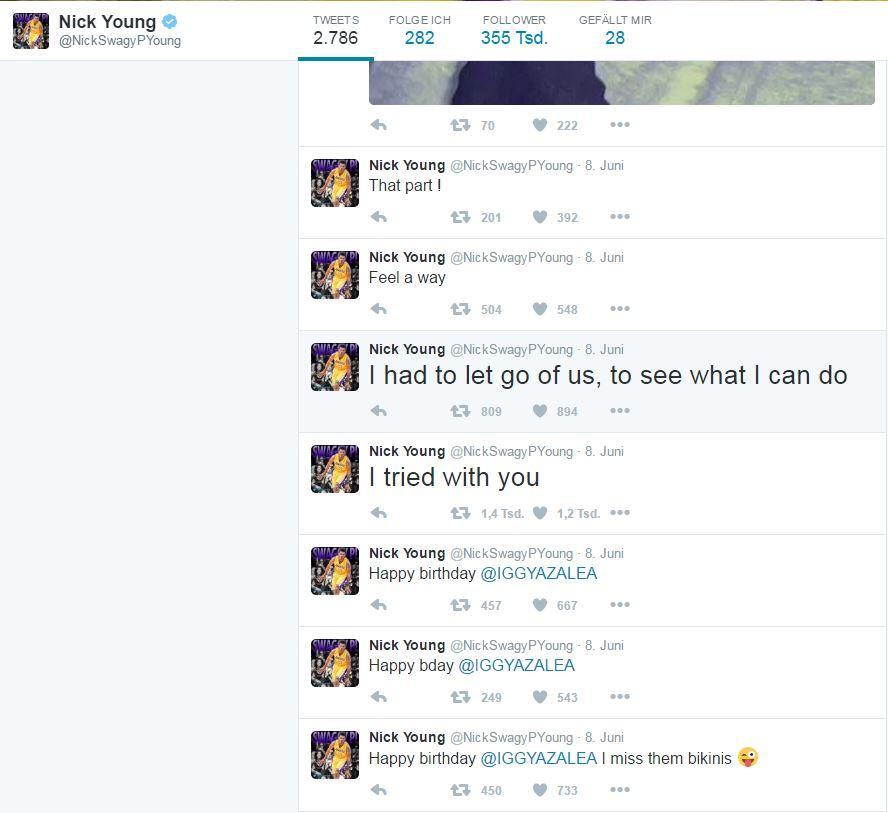 Nick Young + Iggy Azalea: Twitter / @NickSwagyPYoung