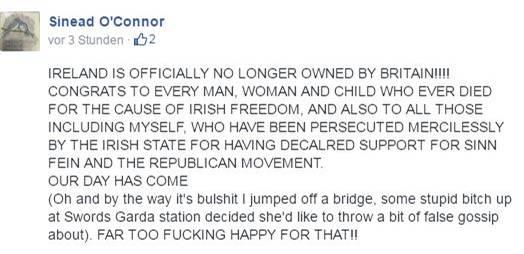 Sinead O'Connor gab auf Facebook Entwarnung