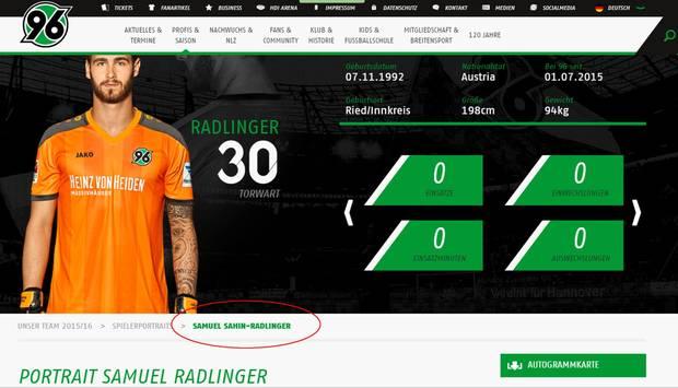 Samuel Radlinger firmiert bald wohl auch auf dem Platz als Sahin-Radlinger.