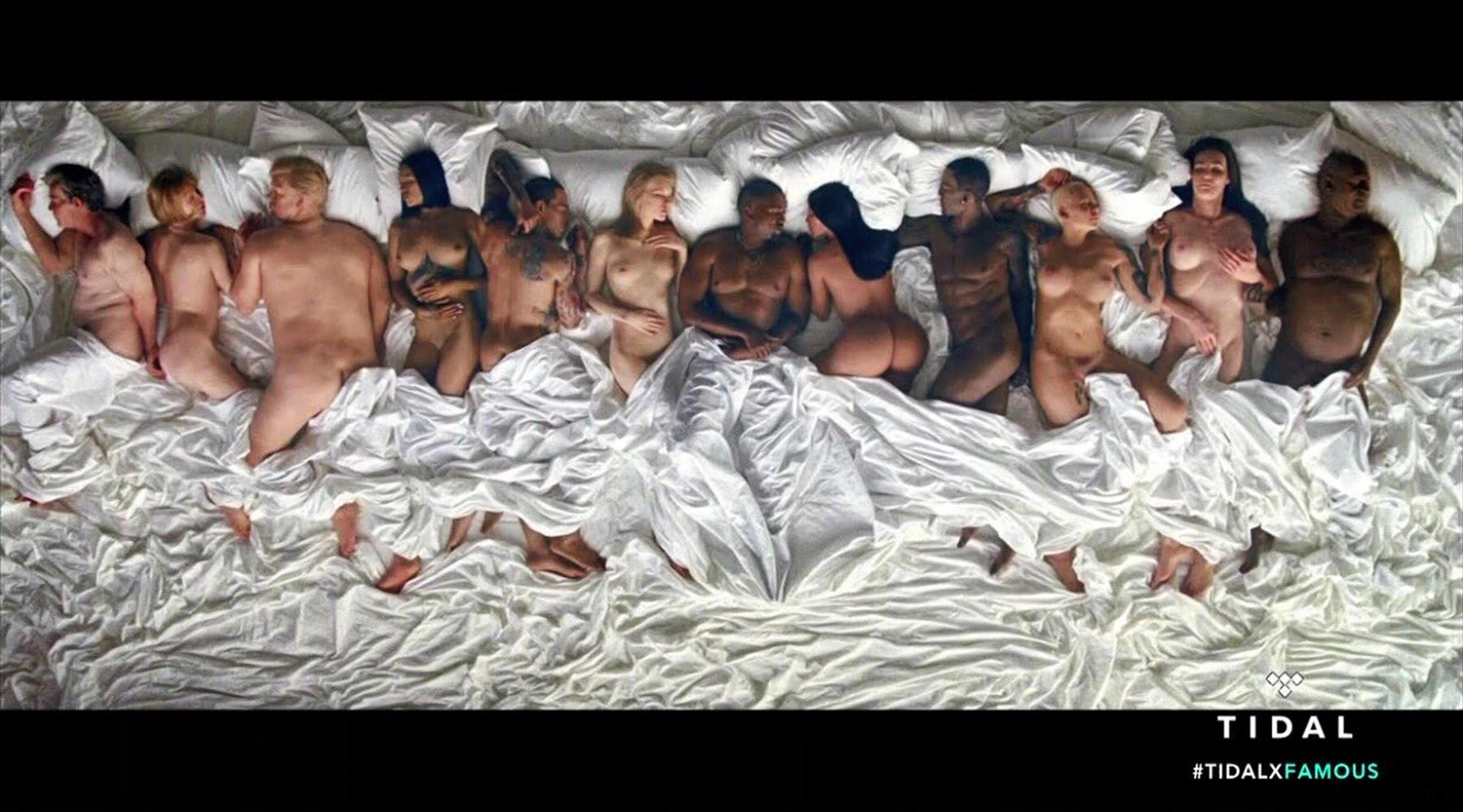 """Taylor Swift: Kanye West liegt in seinem Video zum Song """"Famous"""" inmitten nackter Promis. Sie alle dürften nicht erfreut über die neueste Provokation des Sängers sein."""