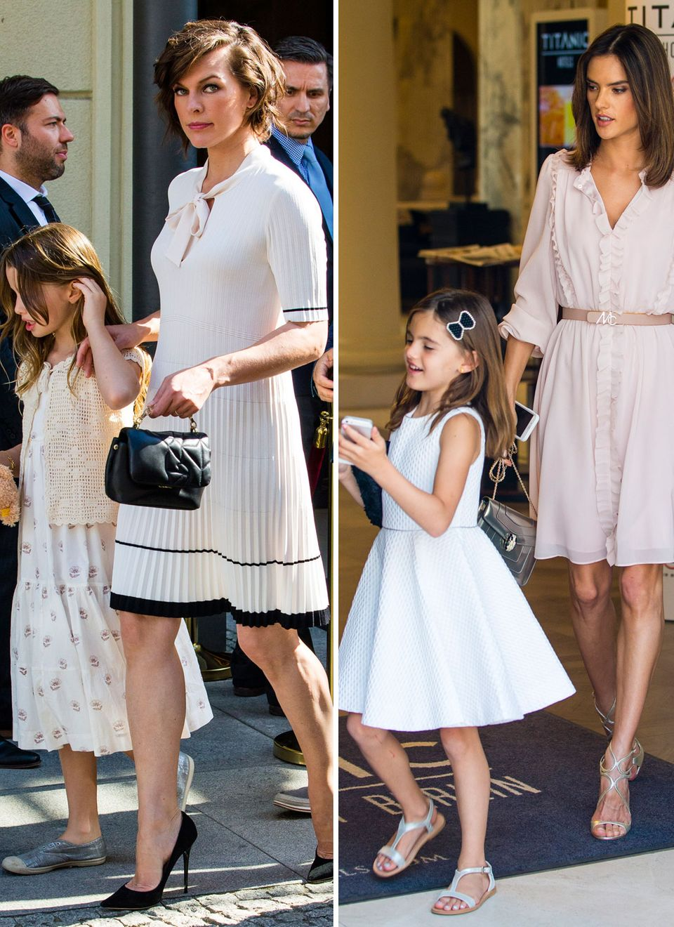 Milla Jovovich, Alessandra Ambrosio mit Töchtern