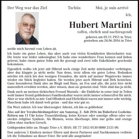 Traueranzeige Hubert Martini