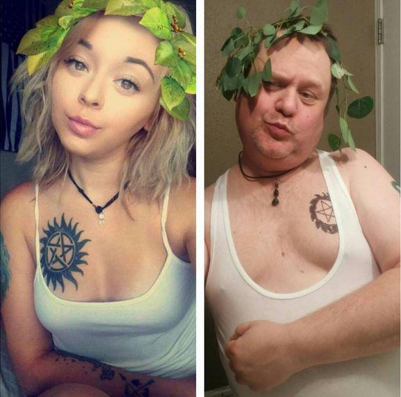 Mann stellt Selfie seiner Tochter nach