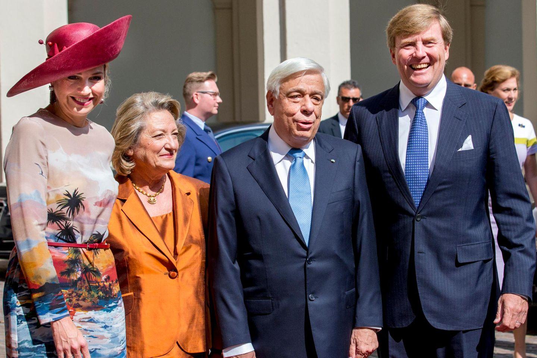 Zähne zusammenbeißen: Königin Máxima letzte Woche beim Empfang des griechischen Präsidenten Prokopis Pavlopoulos und seiner Frau in Den Haag.