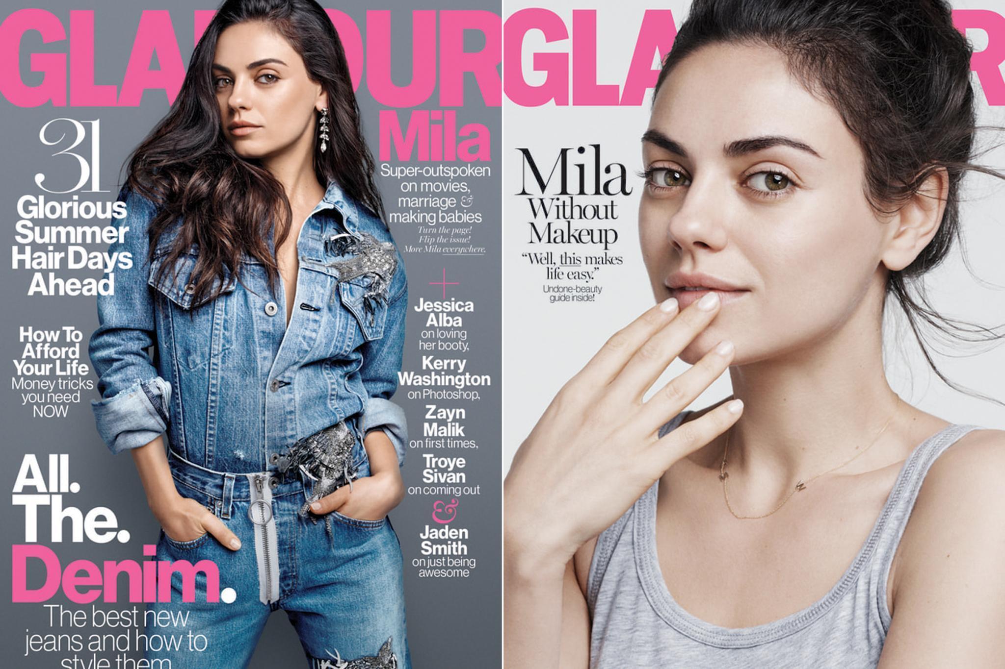 Glamour Cover Mila Kunis ohne Make-up