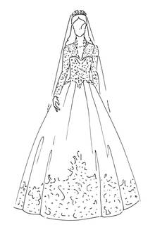 Brautkleid von Herzogin Catherine von Cambridge, Großbritanninen, Hochzeit am 29. April 2011.  Organza, Seidentüll und Satin-Gaze schufen zusammen dieses viel gelobte Traumbrautkleid mit besonders viel Chantilly-Spitzenapplikation mit Blumenmustern. Design: Sarah Burton für Alexander McQueen.