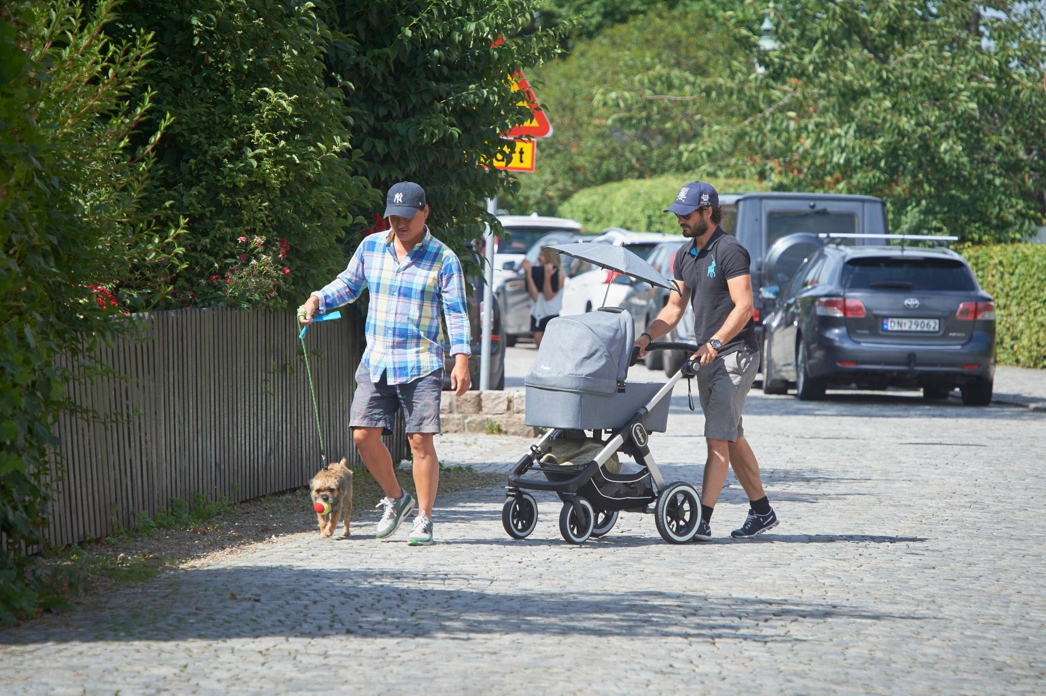 Prinz Carl Philip schiebt Baby Alexander, während ein Begleiter Border Terrier Siri an der Leine führt.