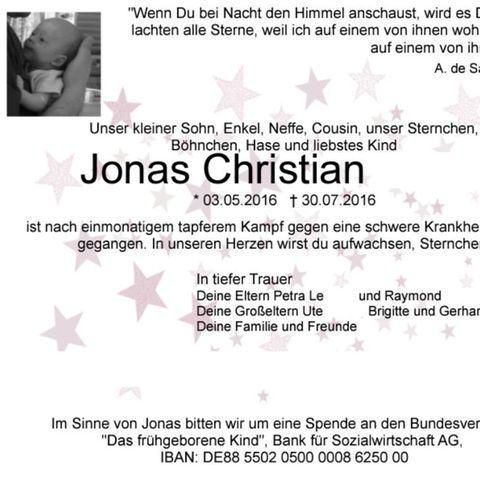 Trauer um Jonas (3 Monate): Lasst euch impfen!