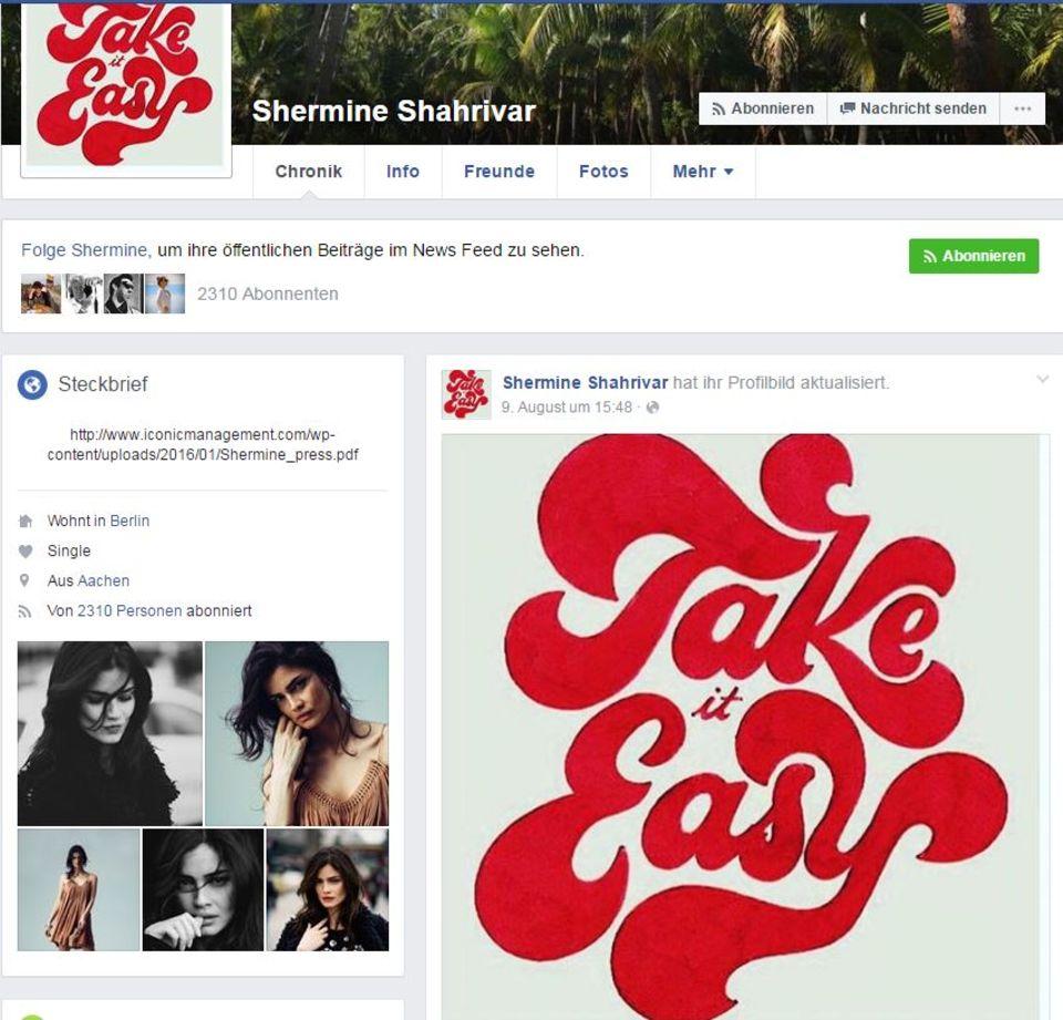 "Bei Facebook ist Shermine Shahrivar als ""Single"" hinterlegt."