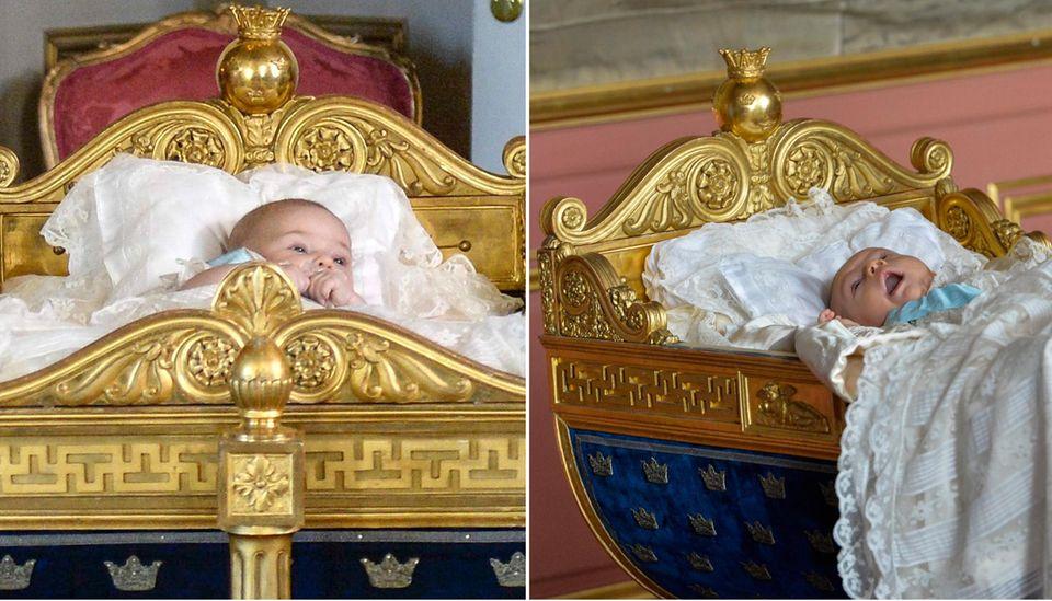 Prinzessin Leonore (links) und Prinz Oscar (rechts) bekommen von Großvater Carl Gustaf die Wiege zugewiesen, die ihrem Rang in der Thronfolge entspricht.