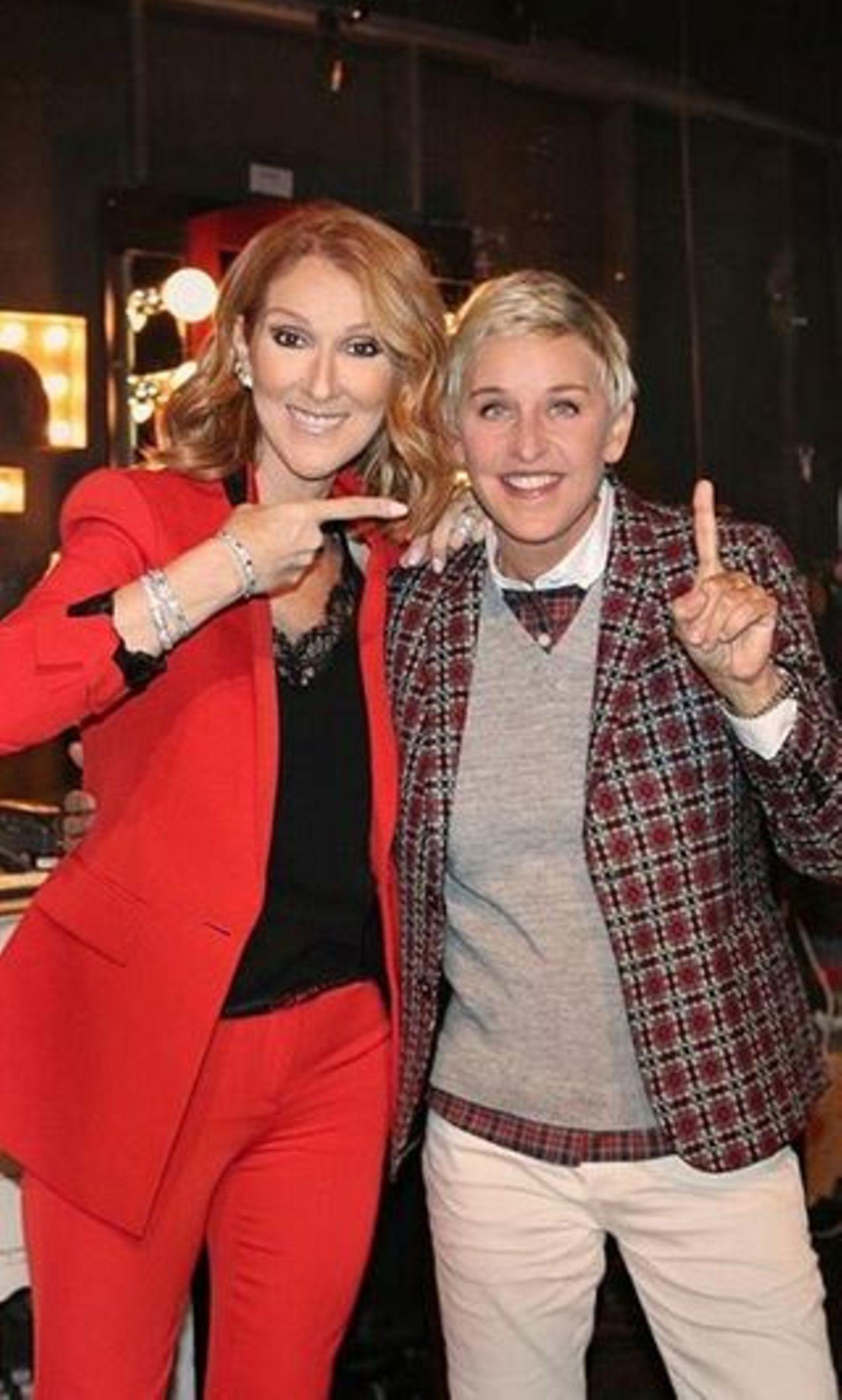 Céline Dion fröhlich bei US-Talk-Star Ellen DeGeneres. Hier rappte sie sogar – und bekam tosenden Applaus