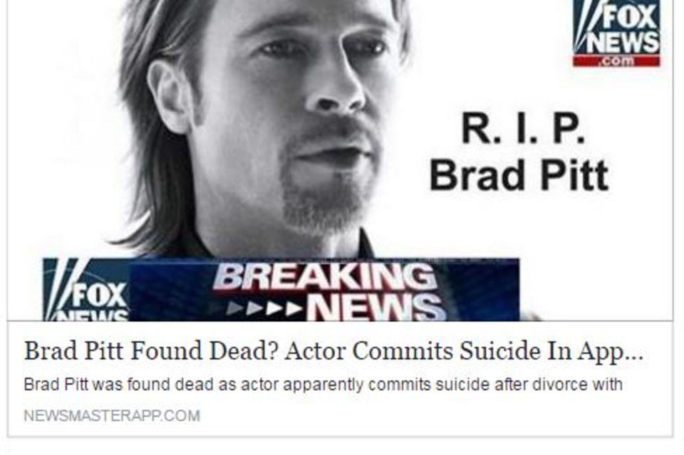 Brad Pitt wurde auf Facebook für tot erklärt