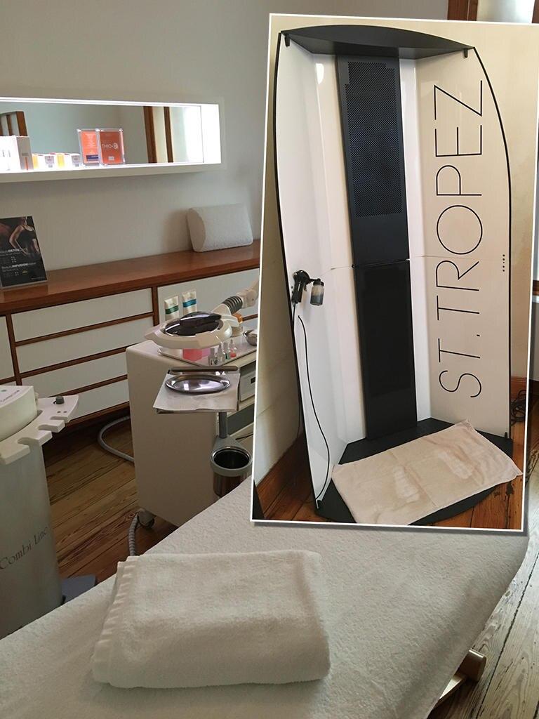 """In den Räumen des Premium-Beautysalons """"Spreeberg"""" wird erst ein Expresspeeling durchgeführt. Anschließend geht es weiter in die Tanning-Kabine von """"St. Tropez""""."""