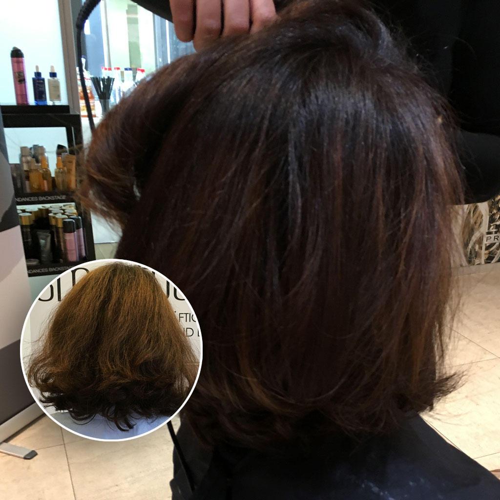 Der Vorher-Nachher-Effekt ist bei meinem Haar spannend. Vorher: durch die Sommersonne ausgeblichene Colorierung und extrem trockene Struktur. Nachher: mehr Glanz und ein weiches Haargefühl trotz Intensivtönung und Strähnentechnik.