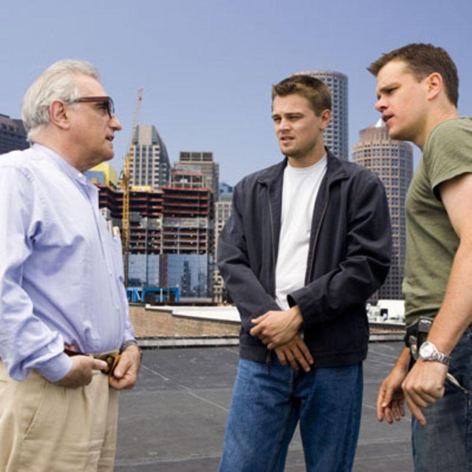 Departed-Regisseur Martin Scorsese mit Leonardo Di Caprio und Matt Damon