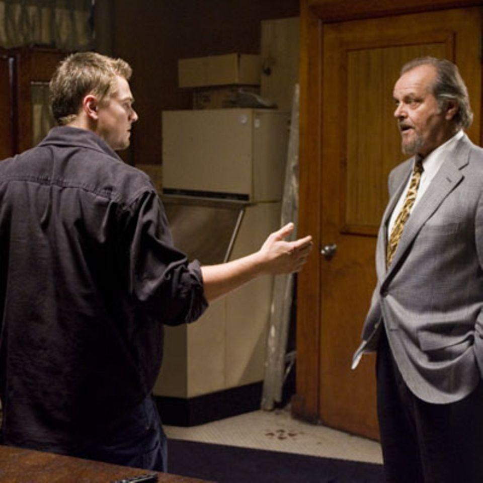 Szenenbild aus Departed - Unter Feinden, Leonardo Di Caprio und Jack Nicholson