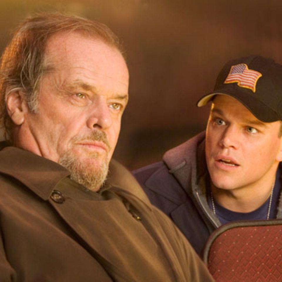 Szenenbild aus Departed - Unter Feinden, Jack Nicholson und Matt Damon