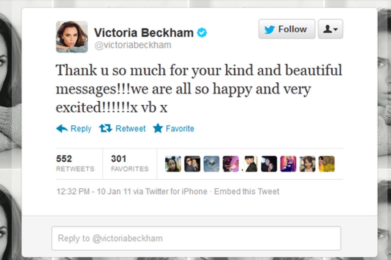 2011: freudige Nachrichten im Hause Beckham: Victoria ist zum vierten Mal schwanger. Nach den Söhnen Brooklyn, Romeo und Cruz h