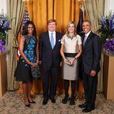 28. September 2015: König Willem-Alexander und Königin Máxima werden von US-Präsident Barack Obama und First Lady Michelle Obama in dem Gebäude der United Nations in New York empfangen.