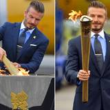 Starkicker David Beckham ist Botschafter der Spiele und entfacht das olympische Feuer in Helston, Cornwall.