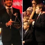 """19. Dezember 2010: Mit seiner bewegenden Dankesrede bei den """"BBC's Sports Personality Awards"""" rührt David Beckham seine Frau Vic"""