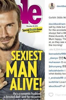 """November 2015  Das amerikanische """"People""""-Magazin kürt David Beckham zum Sexiest Man Alive 2015. Auf seinem Instagramprofil bedankt sich der Brite brav und gesteht: """"Die Kinder werden darüber lachen, denn sie sehen, wie Daddy morgens aussieht""""."""