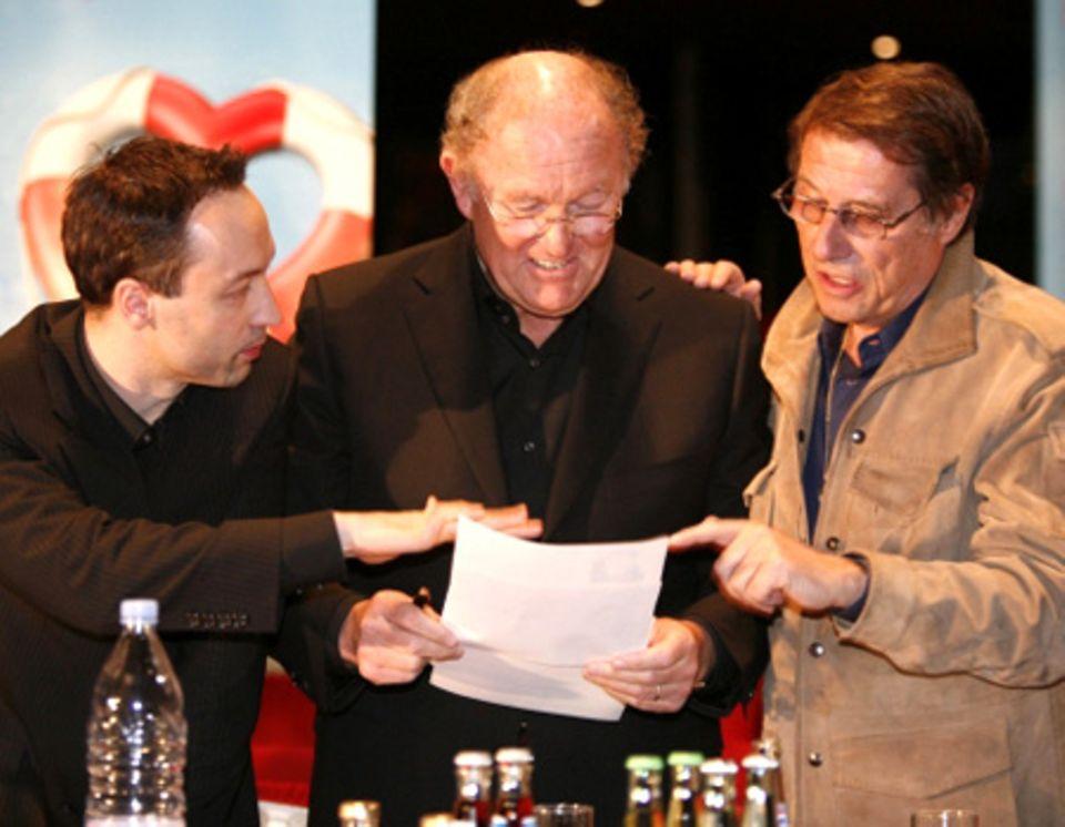 """Christian Struppeck, Joop van den Ende und Udo Jürgens beim finalen Casting von """"Ich war noch niemals in New York"""""""