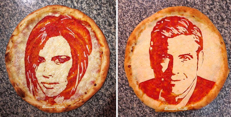 Leckere Stars: In Glasgow gibt es unter anderem Victoria Beckham und George Clooney zum Essen. Pizzabäcker Domenico Crolla zaubert prominente Gesichter auf seine Pizza Margherita.