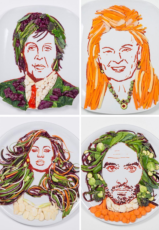 Anlässlich des Weltvegetariertags am 1. Oktober lässt die Tierschutzorganisation Peta von Künstlerin Prudence Staite diese Gemüseporträts herstellen. Sie zeigen berühmte Vegetarier und Veganer wie Paul McCartney, Vivienne Westwood, Leona Lewis und Russell Brand.