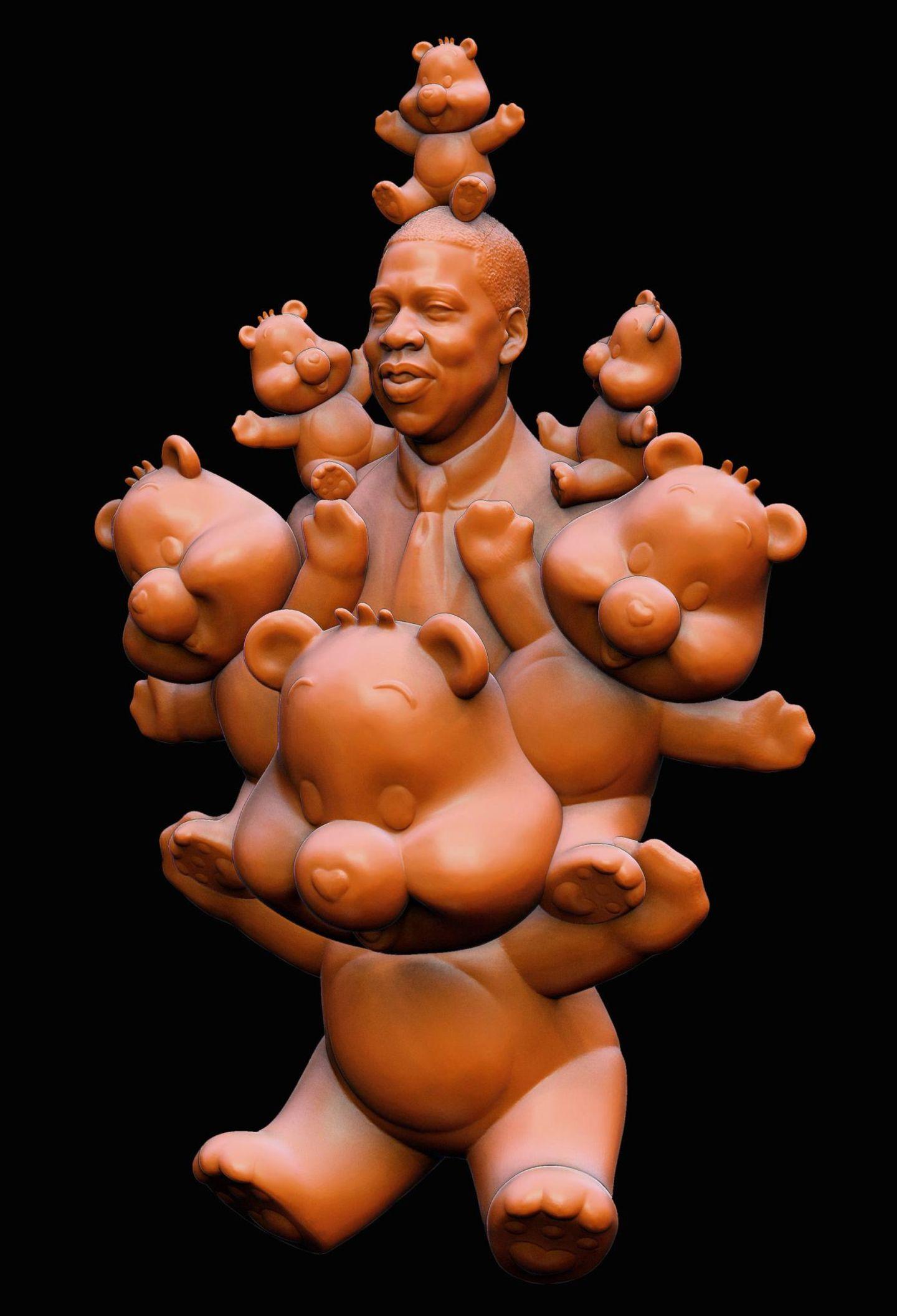 """Die neue Skulptur des Künstlers Daniel Edwards zeigt Rapper Jay-Z inmitten vieler """"Glücksbärchis""""."""