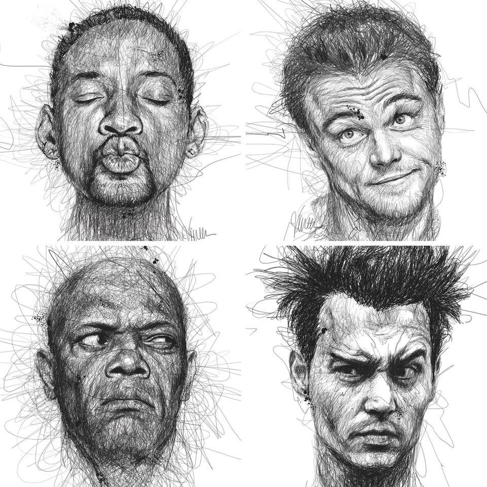 """Der Künstler Vince Low unterstüzt mit seinen Zeichnungen von Stars wie Will Smith, Leonardo DiCaprio, Samuel L. Jackson und Johnny Depp die Organisation """"Dyslexia Association of Malaysia"""", die auf Leseschwäche aufmerksam macht."""