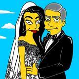 """Amal Alamuddin und George Clooney bekommen von Künstler aleXandro Palombo die """"Simpson-Behandlung""""."""