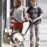 7. März 2012: Ohne Mama Angelina Jolie oder Papa Brad Pitt gehen Shiloh und Zahara mit ihrem Hund in New Orleans Gassi.