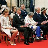 31. Juli 2013: Mit drei Königinnen und zwei Königen gedenkt die belgische Königsfamilie dem vor zwanzig Jahren verstorbenen König Baudouin, dem Mann von Königin Fabiola (m.).