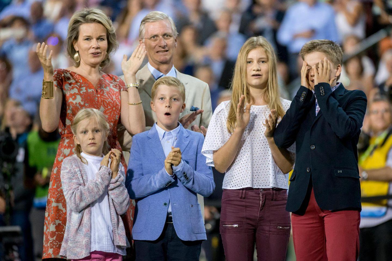 9. September 2016: Belgiens Königsfamilie fiebert beim Leichtathletik-Meeting im Baudouin-Stadion in Belgien mit den Teilnehmern.