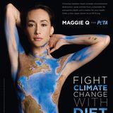 """Die Schauspielerin Maggie Q zeigt für Umwelt und Tiere nackte Haut: Nur mit einem Bodypainting der Erde bedeckt wirbt sie unter dem Motto """"Klimawandel durch Ernährungswandel bekämpfen"""" für die aktuelle Peta-Kampagne."""