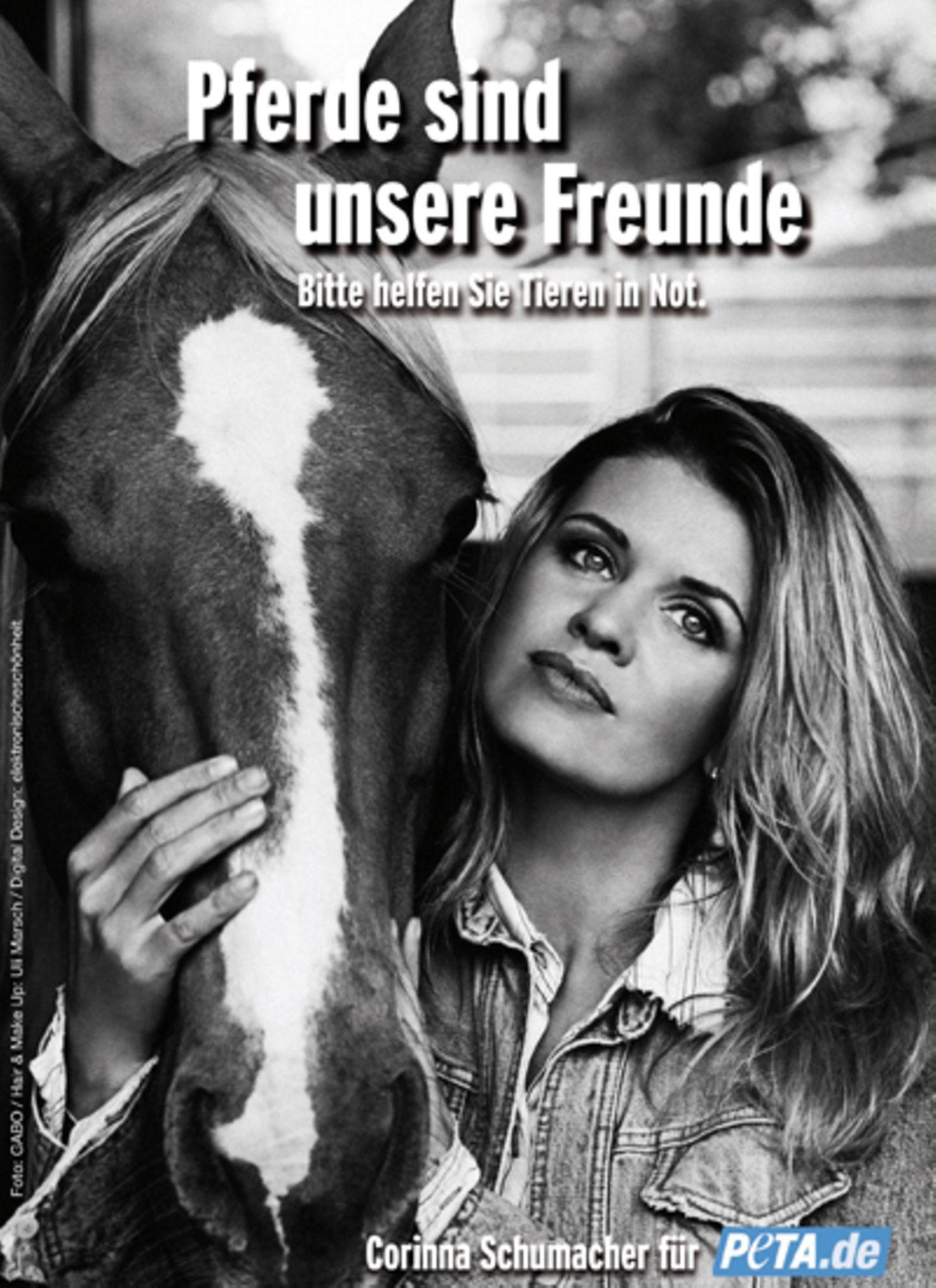 Privat setzt sich Corinna Schumacher für Pferde an.