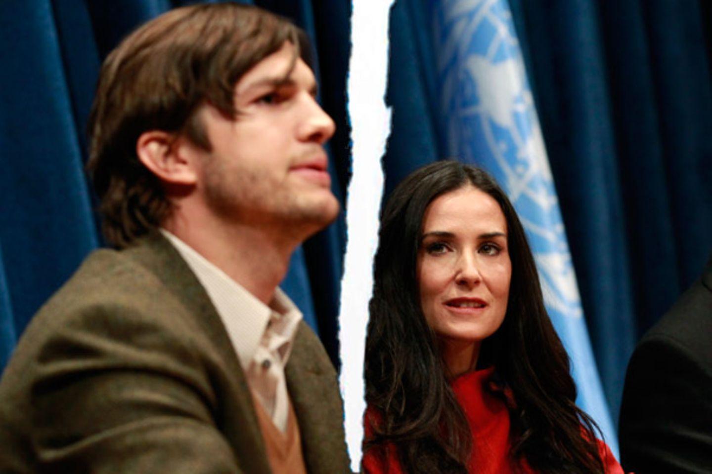 """November 2011: Ashton Kutcher und Demi Moore trennen sich nach sechs Jahren Ehe. In einer Stellungnahme verkündet Demi Moore: """"A"""