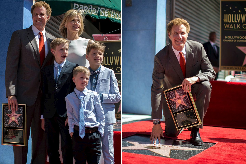 """24. März 2015: Bei der Verleihung der Sternplakette sorgt Will Ferell zunächst für geschockte Fans. """"Ich lehne die Auszeichnung ab."""", sagt er und wendet sich ab. Doch dann grinst der Komiker, denn natürlich hat er sich nur einen kleinen Spaß erlaubt. Zusammen mit seiner Familie freut er sich über diese Ehrung."""