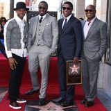 """10. Oktober 2013: Kenny """"Babyface"""" Edmonds wird auf dem Walk of Fame mit einem Stern geehrt. Zum Gratulieren sind Usher, P. Diddy und Antonio M. Reid gekommen."""