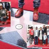 4. Dezember 2014: Pharrell Williams bekommt einen Stern auf dem Walk of Fame und wird bei der Enthüllungszeremonie von seiner Familie und Ellen DeGeneres unterstützt.